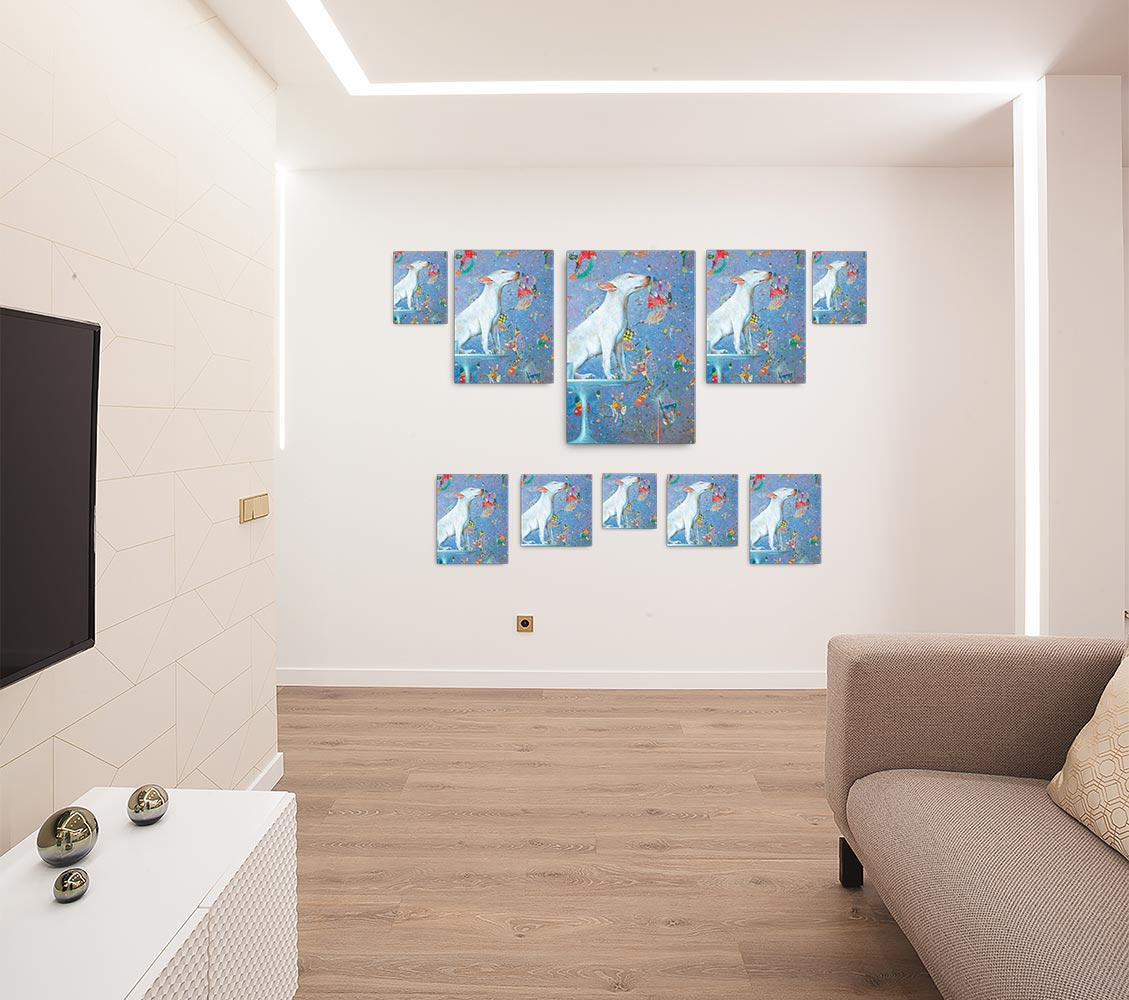 Reproducción de arte en lienzo - salón - El Perro de Kandinsky - Óleo - Realismo Cósmico-pintado por Fernando Pagador
