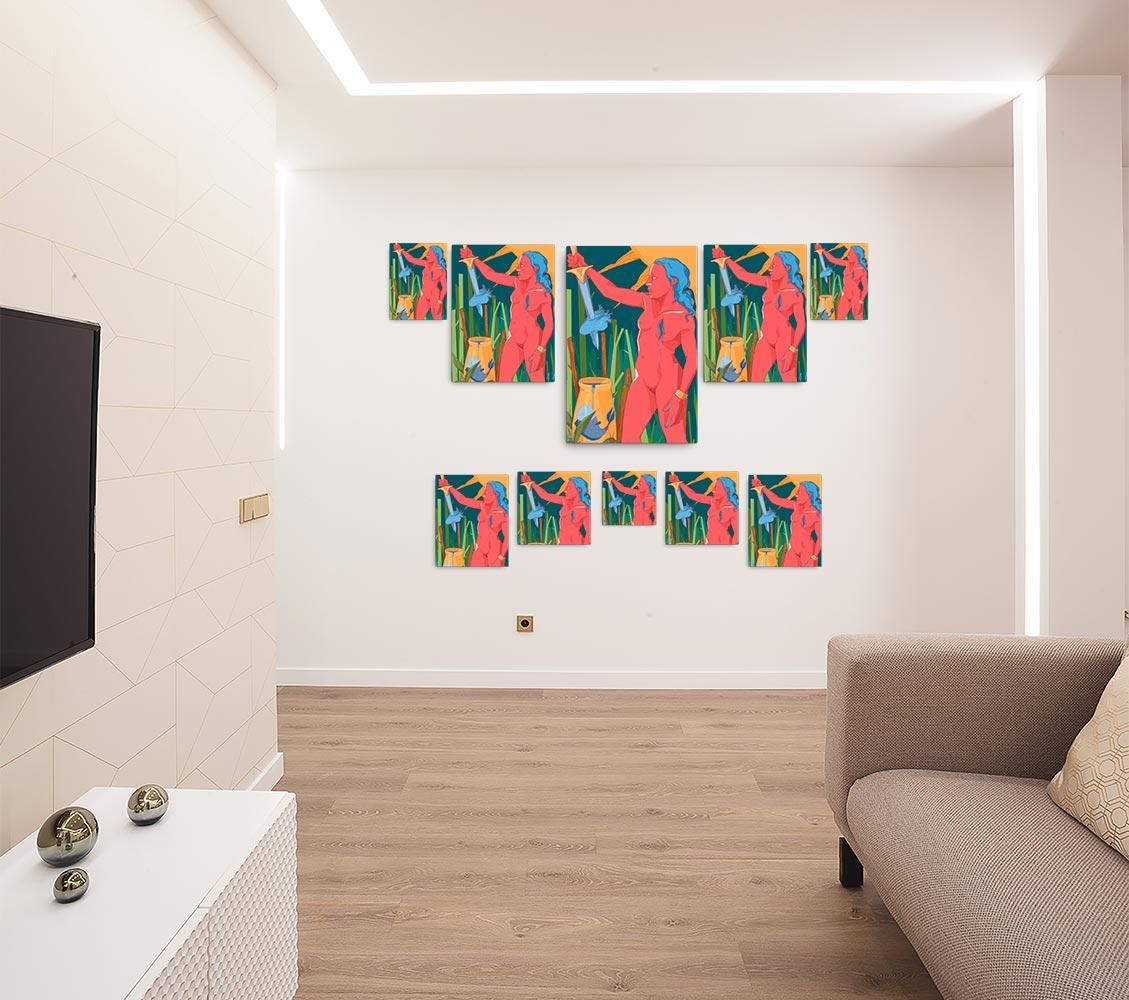 Reproducción de arte en lienzo - salón - La Fuerza de Acuario - Diseño Digital - Zodiaco - Ilustración -pintado por Aida Valdayo