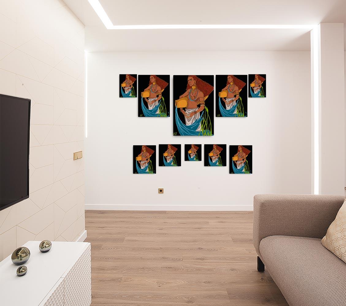 Reproducción de arte en lienzo - salón - El Espiritu de Acuario - Diseño Digital - Zodiaco - Ilustración -pintado por Aida Valdayo