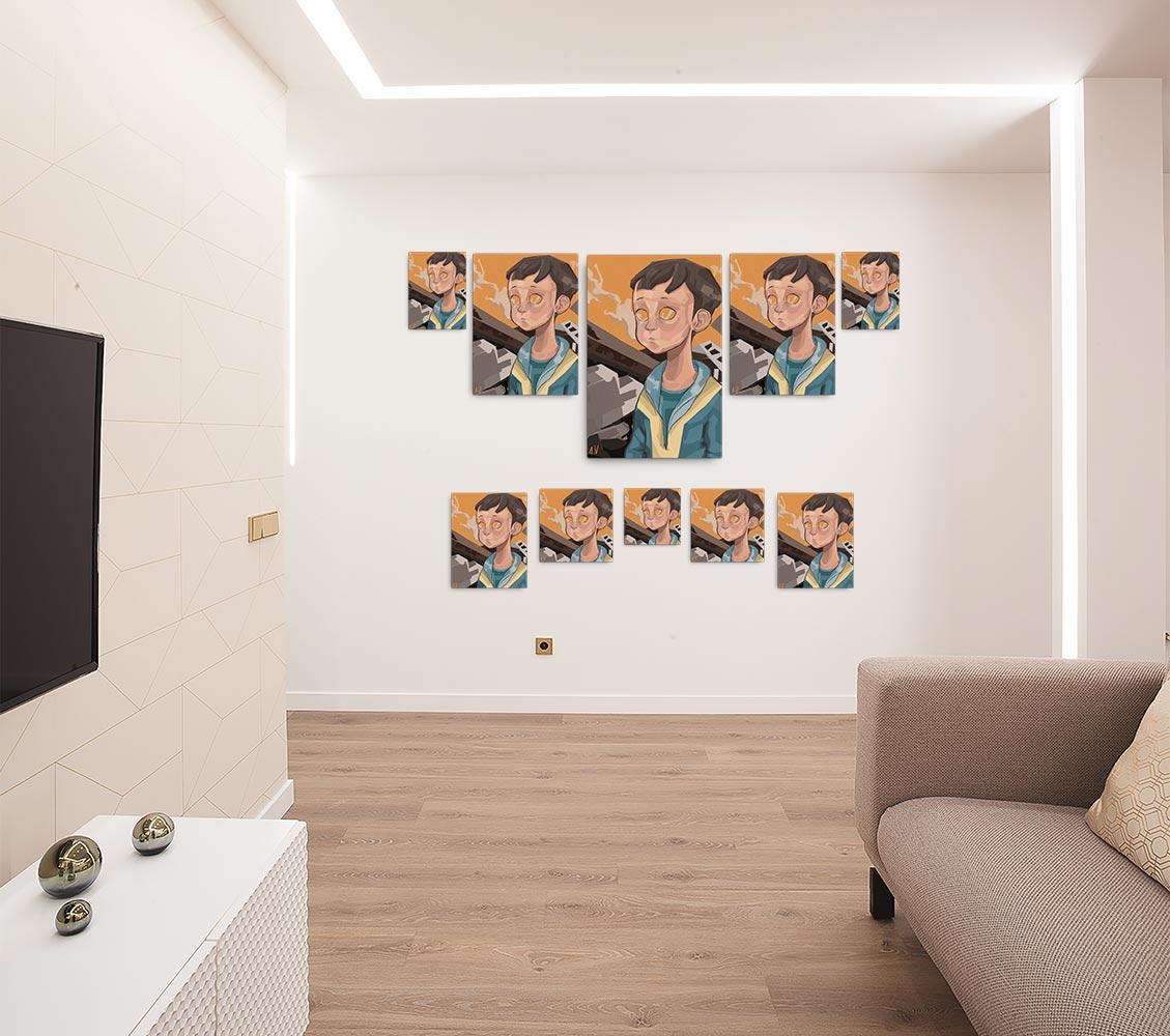 Reproducción de arte en lienzo - salón - Siria - Diseño Digital - Protesta - Ilustración -pintado por Aida Valdayo