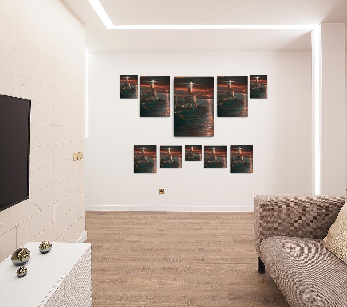 Reproducción de arte en lienzo - salón - Matutino - Óleo - Paisaje costero - Impresionismo -pintado por Fernando Pagador