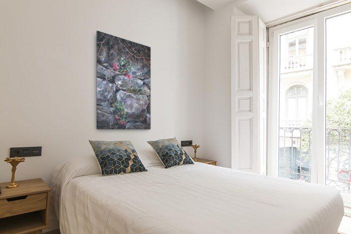 Reproducción de arte en lienzo- dormitorio con balcón - Supervivientes - Óleo - Naturalismo-pintado por Fernando Pagador
