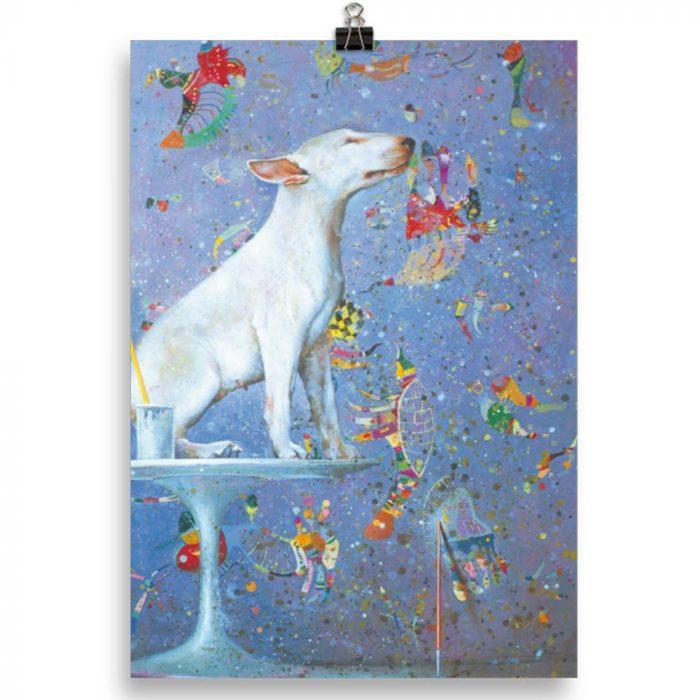 Reproducción de arte en lámina 21x30 cm - El Perro de Kandinsky - Óleo - Realismo Cósmico-pintado por Fernando Pagador