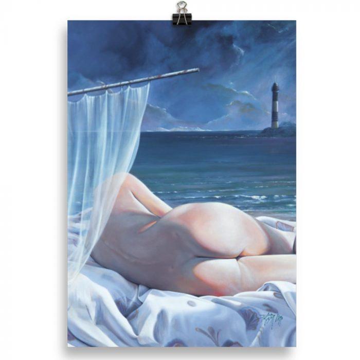 Reproducción de arte en lámina 21x30 cm - Momento de Descanso - Óleo - Paisaje con modelo - Realismo -pintado por Fernando Pagador