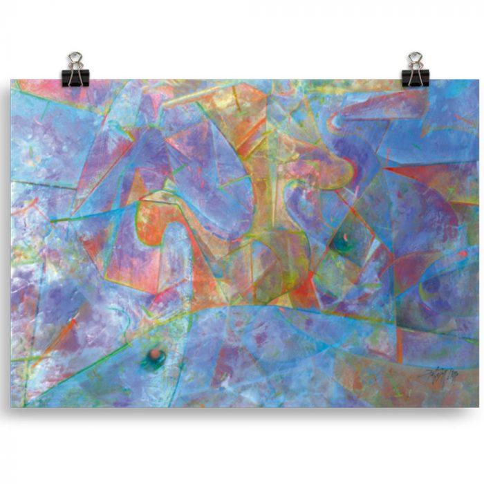Reproducción de arte en lámina 21x30 cm - Espacio de Comunicación - Encáustico - Geometria y Abstracción - Matérica -pintado por Fernando Pagador