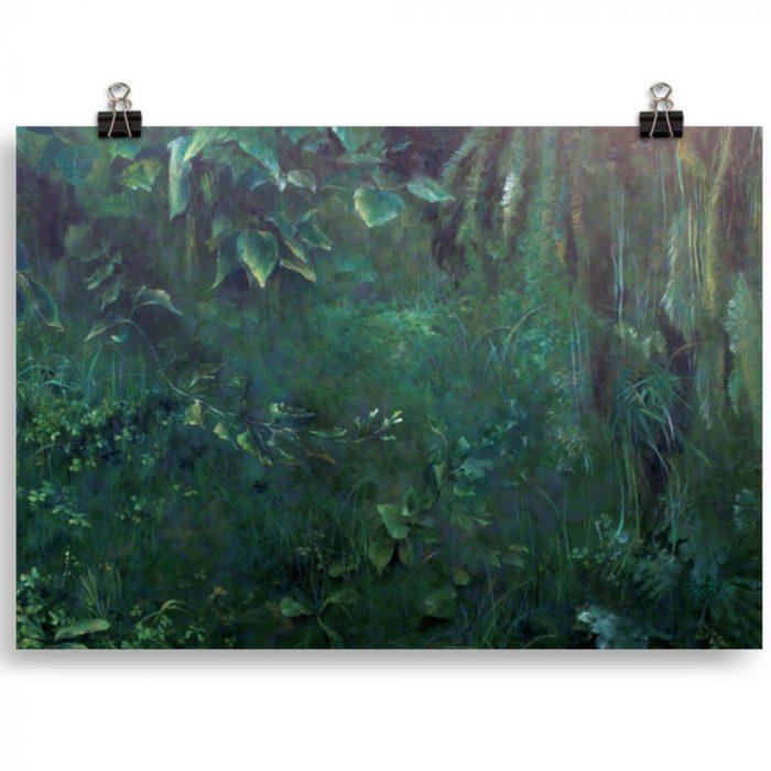 Reproducción de arte en lámina 30x21 cm - Clorofila Derecha - Técnica Mixta - Paisaje - Naturalismo -pintado por Fernando Pagador