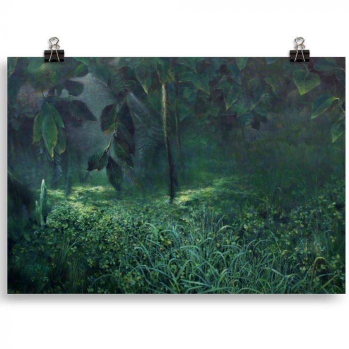 Reproducción de arte en lámina 21x30 cm - Clorofila Izquierda - Técnica Mixta - Paisaje - Naturalismo -pintado por Fernando Pagador
