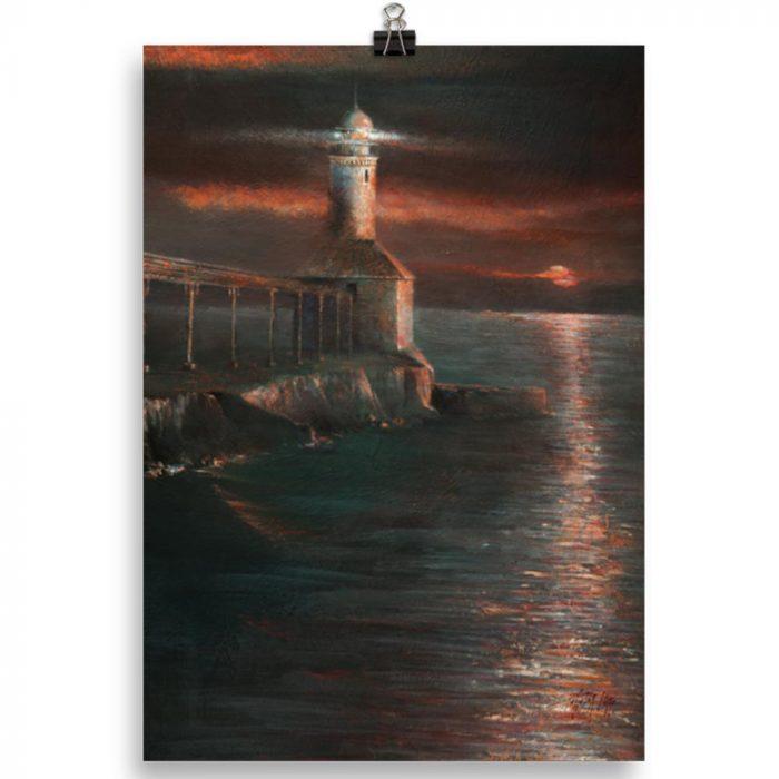 Reproducción de arte en lámina 30x21 cm - Matutino - Óleo - Paisaje costero - Impresionismo -pintado por Fernando Pagador