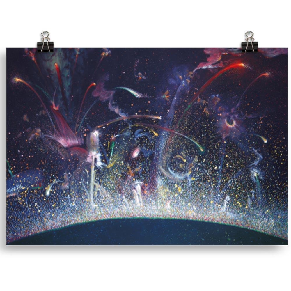 Reproducción de arte en lámina 30x21 cm - Apoteosis - Óleo - Ónirico - Puntillismo -pintado por Fernando Pagador