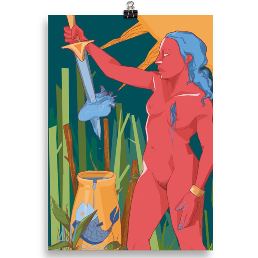 Reproducción de arte en lámina 30x21 cm - La Fuerza de Acuario - Diseño Digital - Zodiaco - Ilustración -pintado por Aida Valdayo