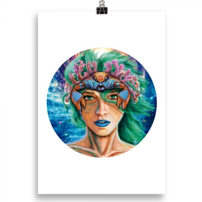 Reproducción de arte en lámina 30x21 cm - La Fortaleza de Cancer - Diseño Digital - Zodiaco - Ilustración -pintado por Adrian Pagador