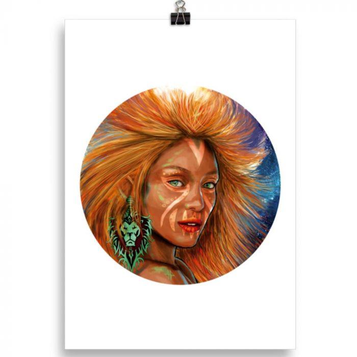 Reproducción de arte en lámina 30x21 cm - El Poder de Leo - Diseño Digital - Zodiaco - Ilustración -pintado por Adrian Pagador