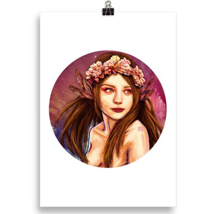 Reproducción de arte en lámina 30x21 cm - La Pureza de Virgo - Diseño Digital - Zodiaco - Ilustración -pintado por Adrian Pagador