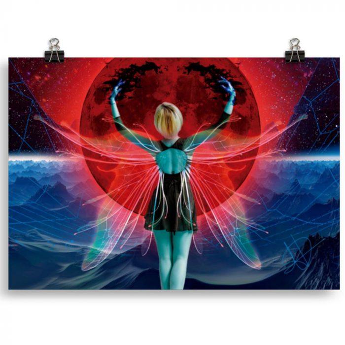 Reproducción de arte en lámina 30x21 cm - Retro RedMoon - Diseño Digital - Ilustración - Fotografía y Pintura -pintado por WachiMakeArt