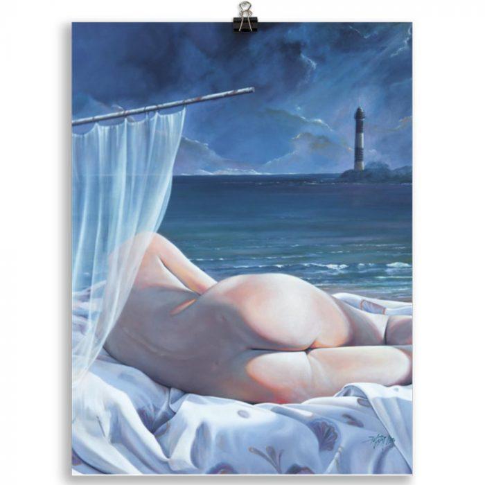 Reproducción de arte en lámina 30x40 cm - Momento de Descanso - Óleo - Paisaje con modelo - Realismo -pintado por Fernando Pagador