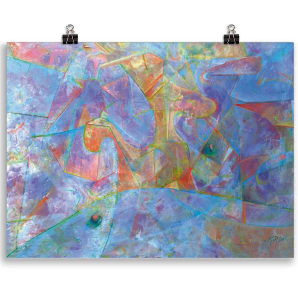 Reproducción de arte en lámina 30x40 cm - Espacio de Comunicación - Encáustico - Geometria y Abstracción - Matérica -pintado por Fernando Pagador