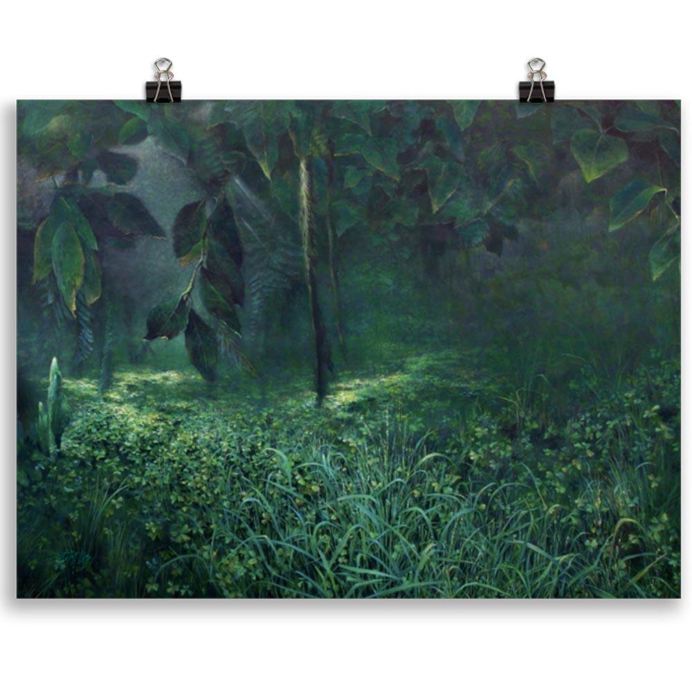 Reproducción de arte en lámina 30x40 cm - Clorofila Izquierda - Técnica Mixta - Paisaje - Naturalismo -pintado por Fernando Pagador