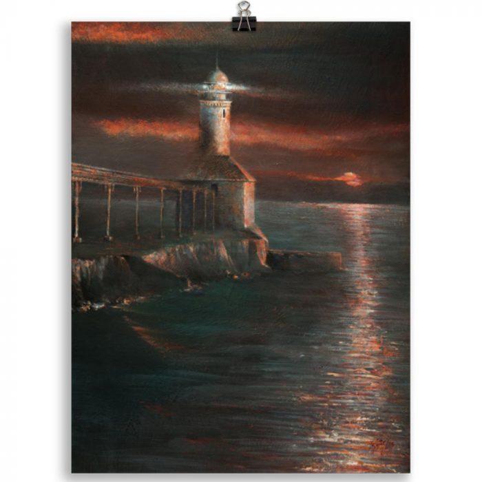 Reproducción de arte en lámina 30x40 cm - Matutino - Óleo - Paisaje costero - Impresionismo -pintado por Fernando Pagador