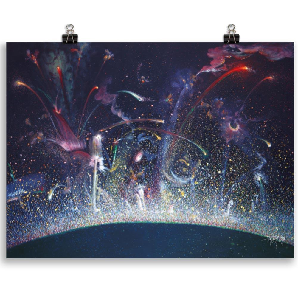 Reproducción de arte en lámina 30x40 cm - Apoteosis - Óleo - Ónirico - Puntillismo -pintado por Fernando Pagador