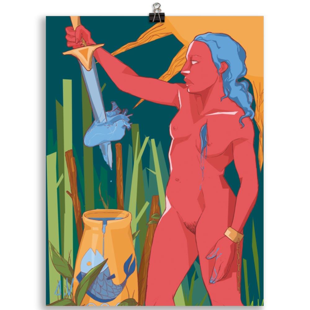 Reproducción de arte en lámina 30x40 cm - La Fuerza de Acuario - Diseño Digital - Zodiaco - Ilustración -pintado por Aida Valdayo