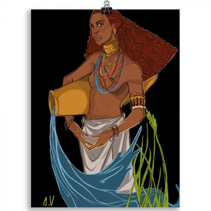 Reproducción de arte en lámina 30x40 cm - El Espiritu de Acuario - Diseño Digital - Zodiaco - Ilustración -pintado por Aida Valdayo