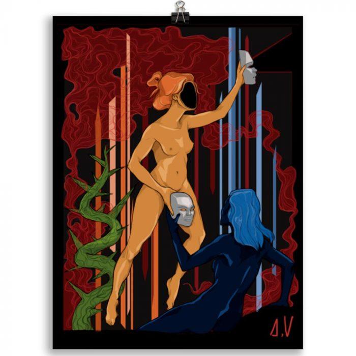 Reproducción de arte en lámina 30x40 cm - La Visión de Géminis - Diseño Digital - Zodiaco - Ilustración -pintado por Aida Valdayo