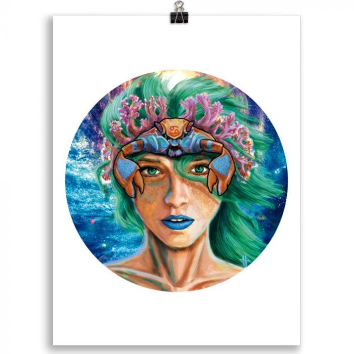 Reproducción de arte en lámina 30x40 cm - La Fortaleza de Cancer - Diseño Digital - Zodiaco - Ilustración -pintado por Adrian Pagador