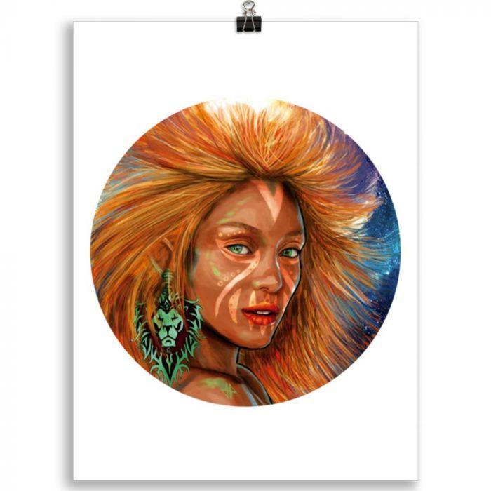 Reproducción de arte en lámina 30x40 cm - El Poder de Leo - Diseño Digital - Zodiaco - Ilustración -pintado por Adrian Pagador