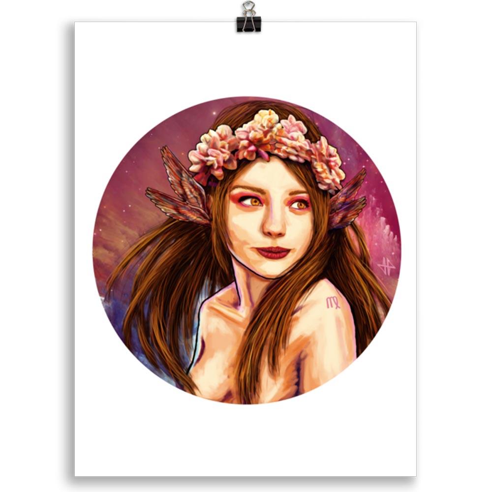 Reproducción de arte en lámina 30x40 cm - La Pureza de Virgo - Diseño Digital - Zodiaco - Ilustración -pintado por Adrian Pagador