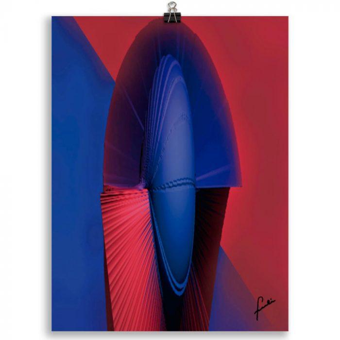 Reproducción de arte en lámina 30x40 cm - Esfinge - Diseño Digital - Abstracto - Modelado 3D -pintado por Fuli