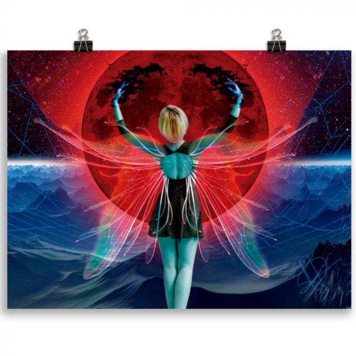 Reproducción de arte en lámina 30x40 cm - Retro RedMoon - Diseño Digital - Ilustración - Fotografía y Pintura -pintado por WachiMakeArt