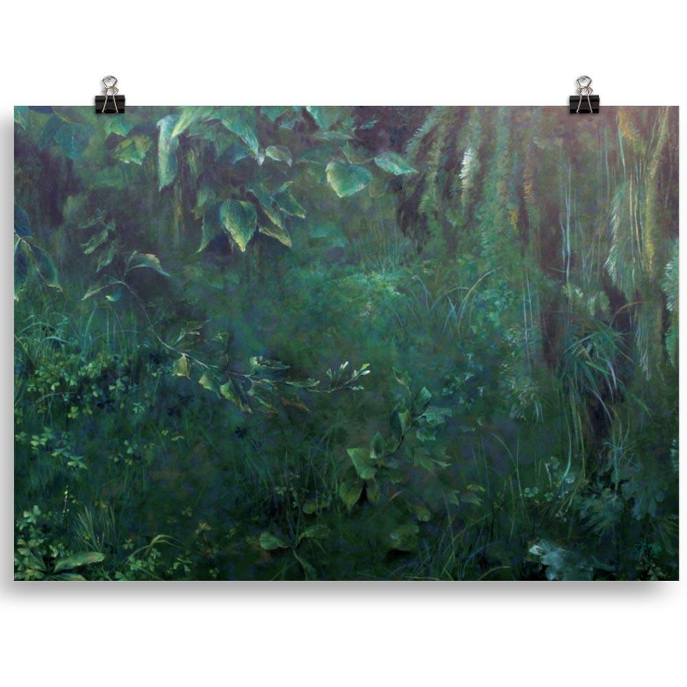 Reproducción de arte en lámina 50x70 cm - Clorofila Derecha - Técnica Mixta - Paisaje - Naturalismo -pintado por Fernando Pagador