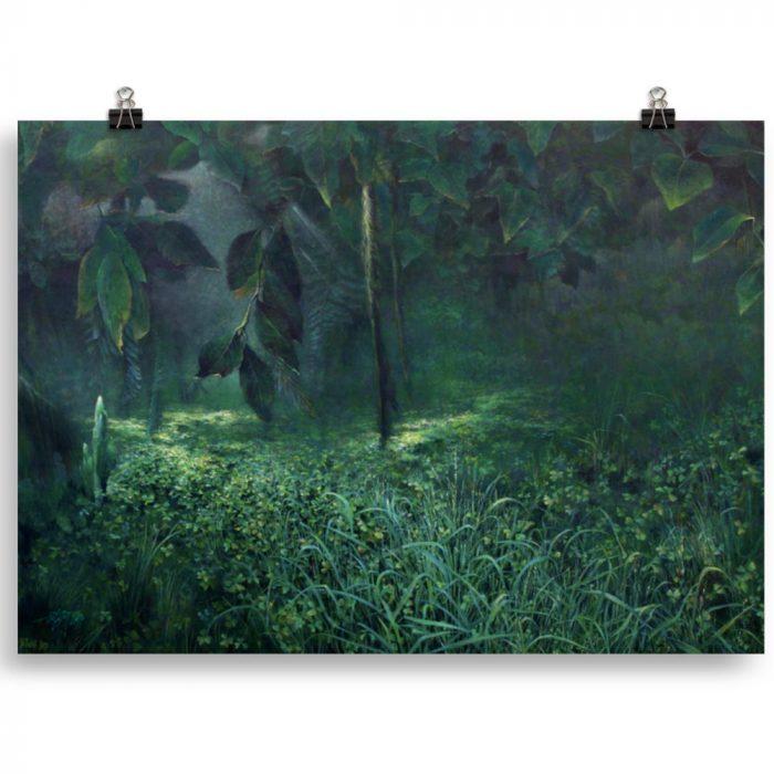 Reproducción de arte en lámina 50x70 cm - Clorofila Izquierda - Técnica Mixta - Paisaje - Naturalismo -pintado por Fernando Pagador