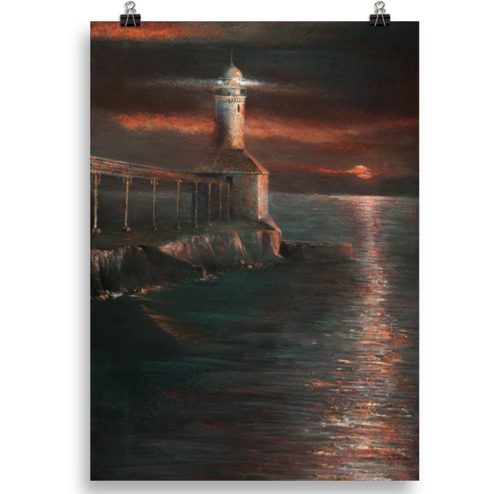Reproducción de arte en lámina 50x70 cm - Matutino - Óleo - Paisaje costero - Impresionismo -pintado por Fernando Pagador