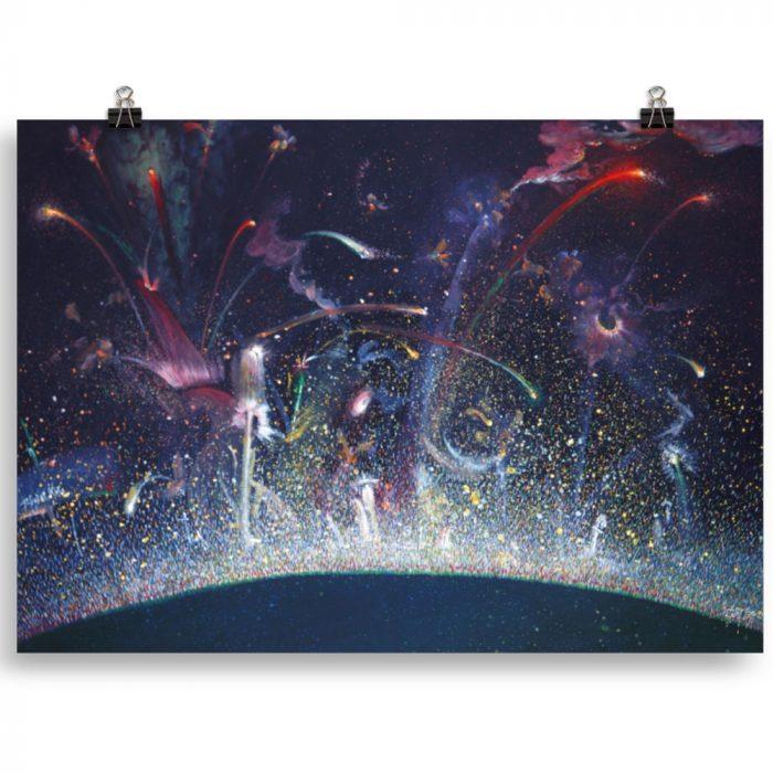 Reproducción de arte en lámina 70x50 cm - Apoteosis - Óleo - Ónirico - Puntillismo -pintado por Fernando Pagador