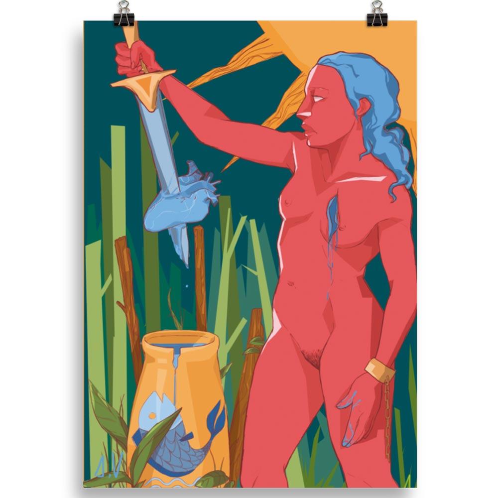 Reproducción de arte en lámina 70x50 cm - La Fuerza de Acuario - Diseño Digital - Zodiaco - Ilustración -pintado por Aida Valdayo