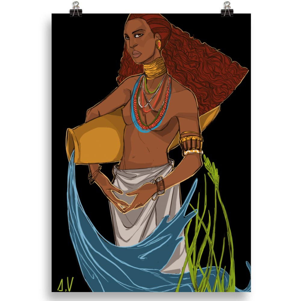 Reproducción de arte en lámina 70x50 cm - El Espiritu de Acuario - Diseño Digital - Zodiaco - Ilustración -pintado por Aida Valdayo