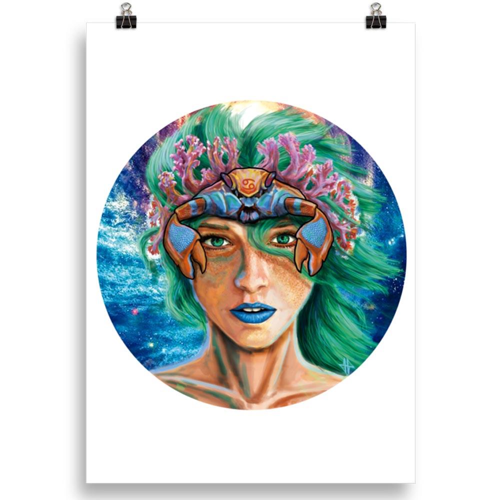 Reproducción de arte en lámina 70x50 cm - La Fortaleza de Cancer - Diseño Digital - Zodiaco - Ilustración -pintado por Adrian Pagador