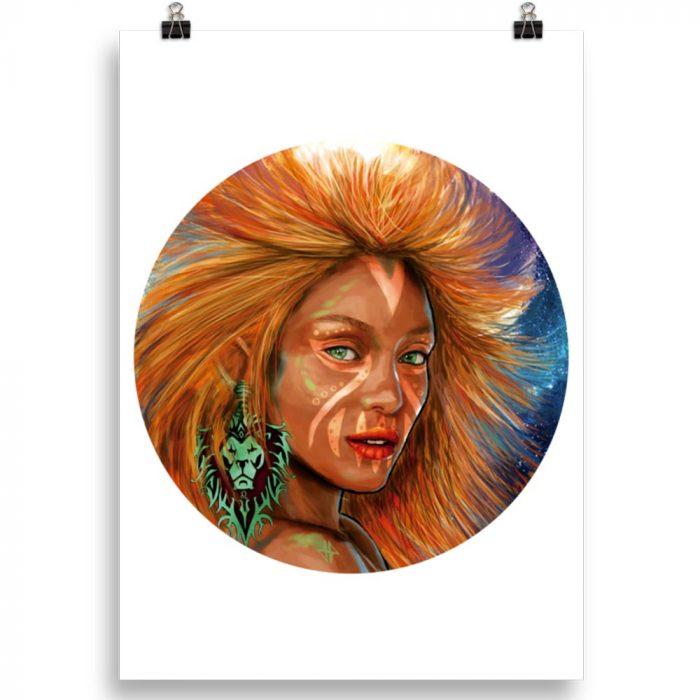 Reproducción de arte en lámina 70x50 cm - El Poder de Leo - Diseño Digital - Zodiaco - Ilustración -pintado por Adrian Pagador