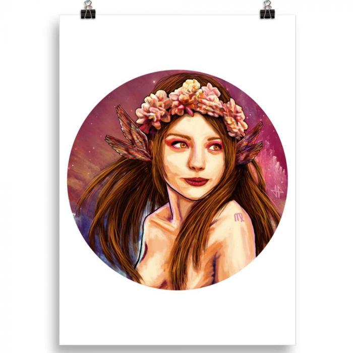 Reproducción de arte en lámina 50x70 cm - La Pureza de Virgo - Diseño Digital - Zodiaco - Ilustración -pintado por Adrian Pagador