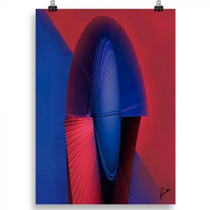 Reproducción de arte en lámina 70x50 cm - Esfinge - Diseño Digital - Abstracto - Modelado 3D -pintado por Fuli
