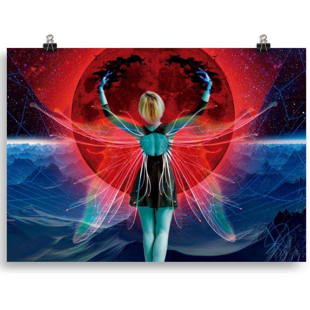 Reproducción de arte en lámina 70x50 cm - Retro RedMoon - Diseño Digital - Ilustración - Fotografía y Pintura -pintado por WachiMakeArt