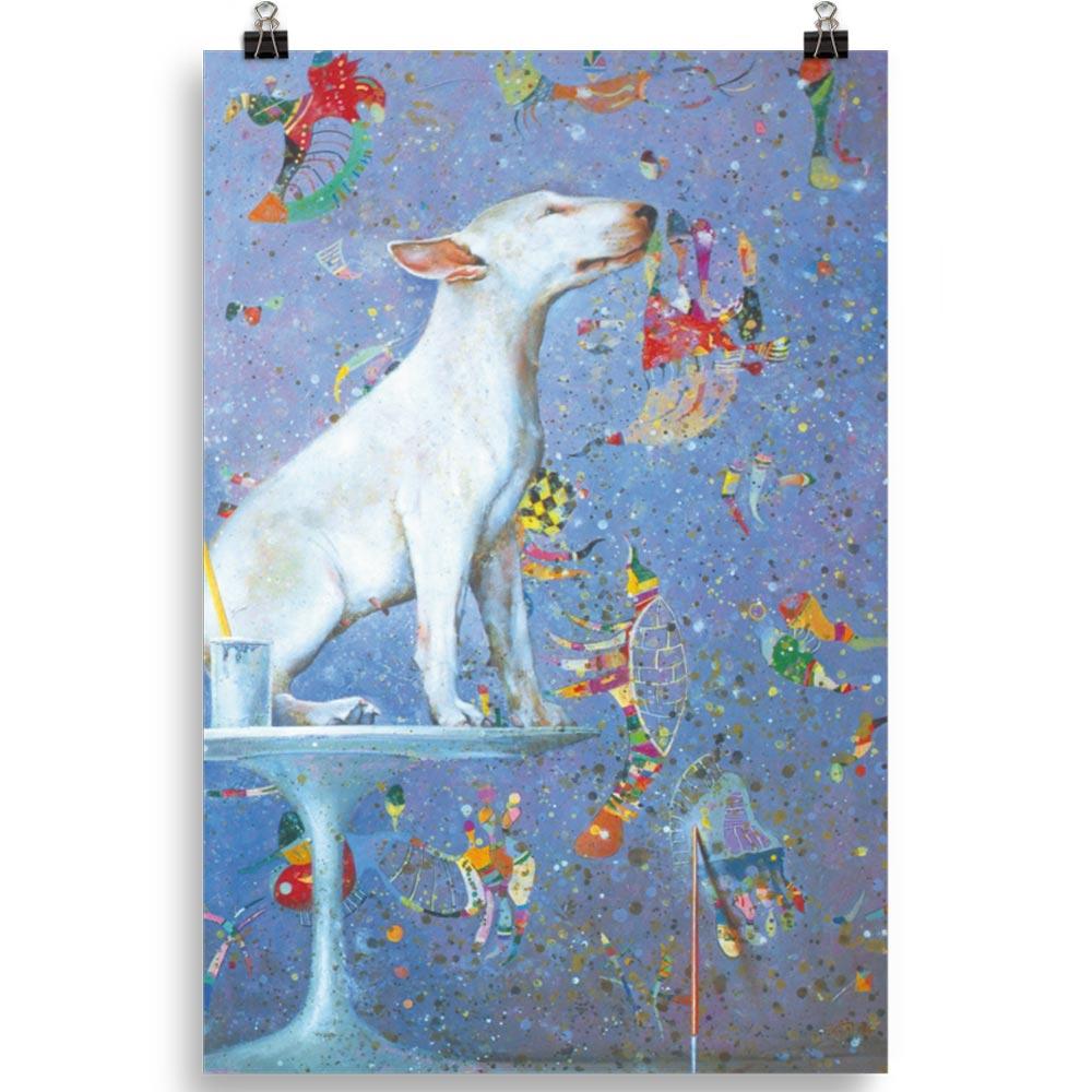 Reproducción de arte en lámina 61x91 cm - El Perro de Kandinsky - Óleo - Realismo Cósmico-pintado por Fernando Pagador