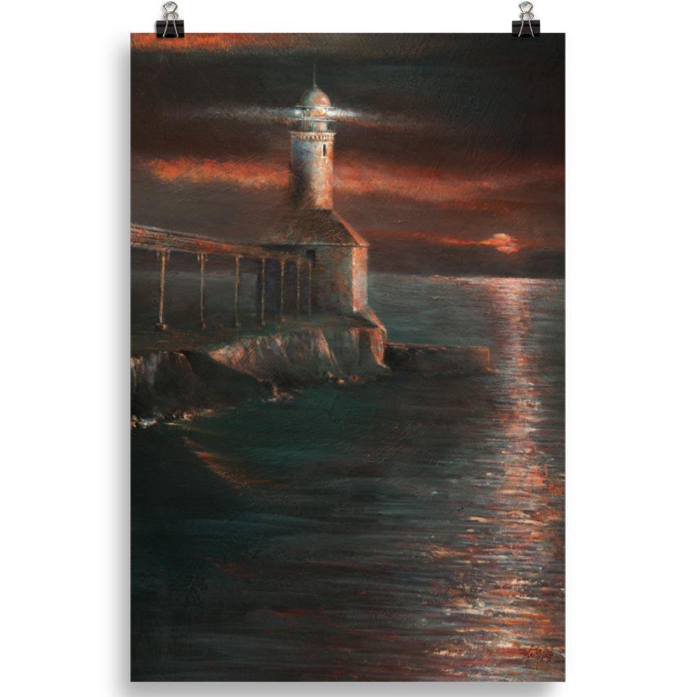 Reproducción de arte en lámina 61x91 cm - Matutino - Óleo - Paisaje costero - Impresionismo -pintado por Fernando Pagador
