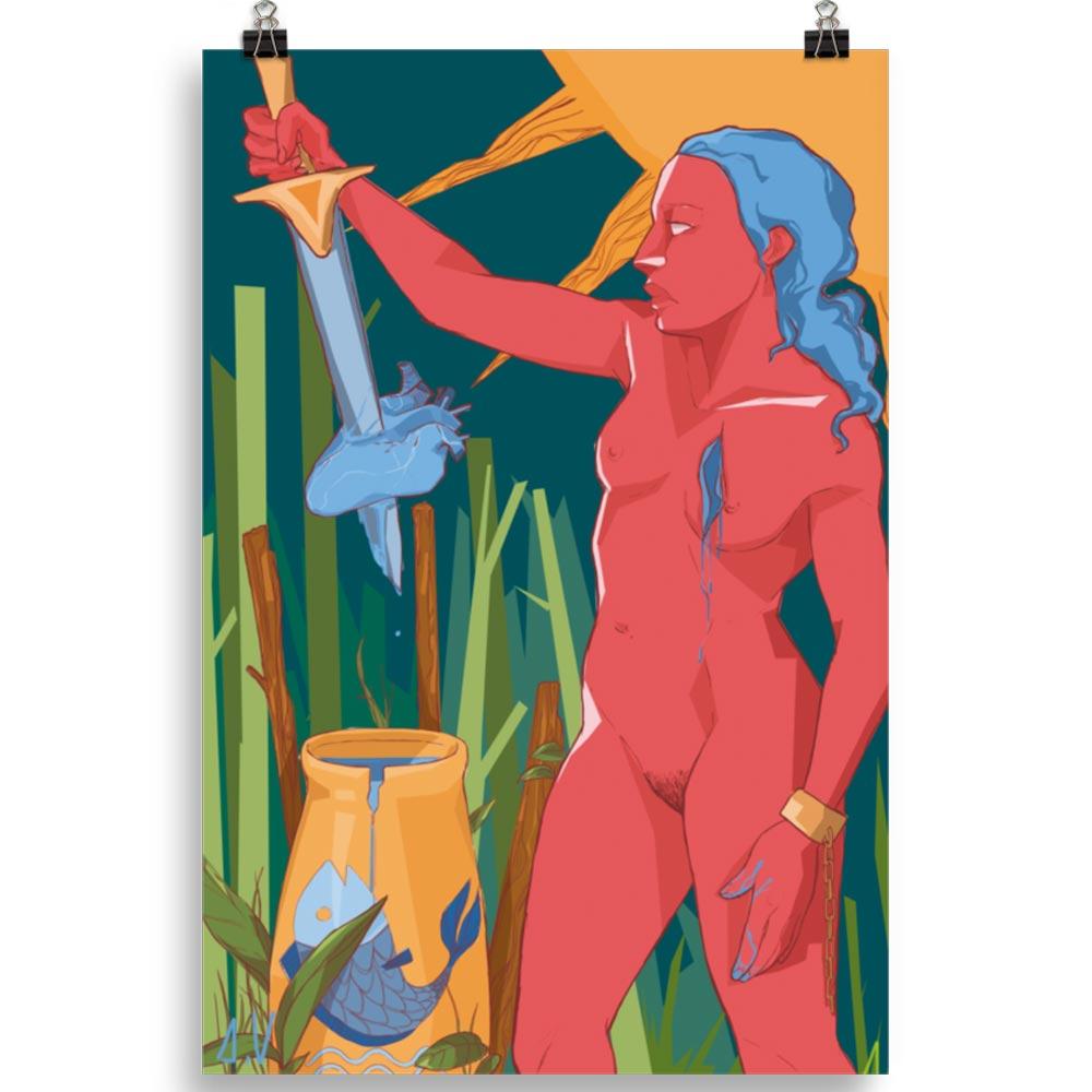 Reproducción de arte en lámina 61x91 cm - La Fuerza de Acuario - Diseño Digital - Zodiaco - Ilustración -pintado por Aida Valdayo