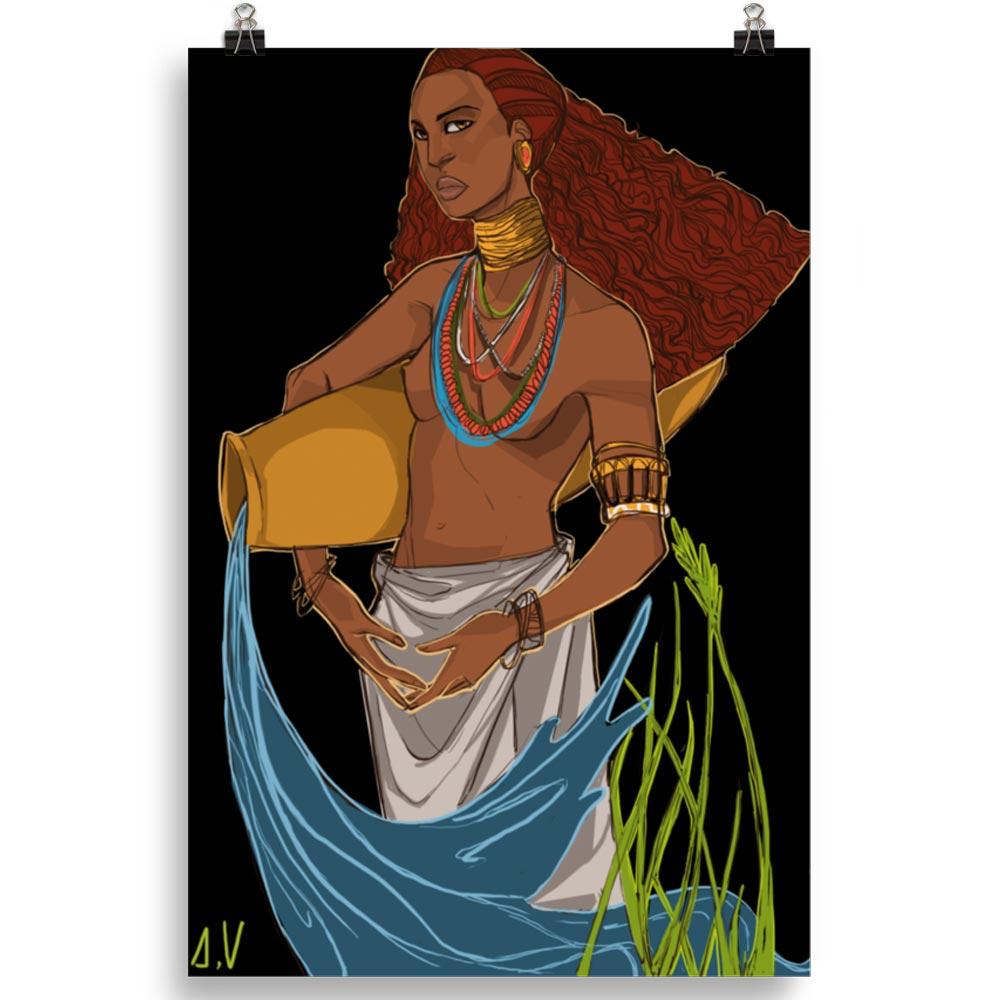 Reproducción de arte en lámina 61x91 cm - El Espiritu de Acuario - Diseño Digital - Zodiaco - Ilustración -pintado por Aida Valdayo