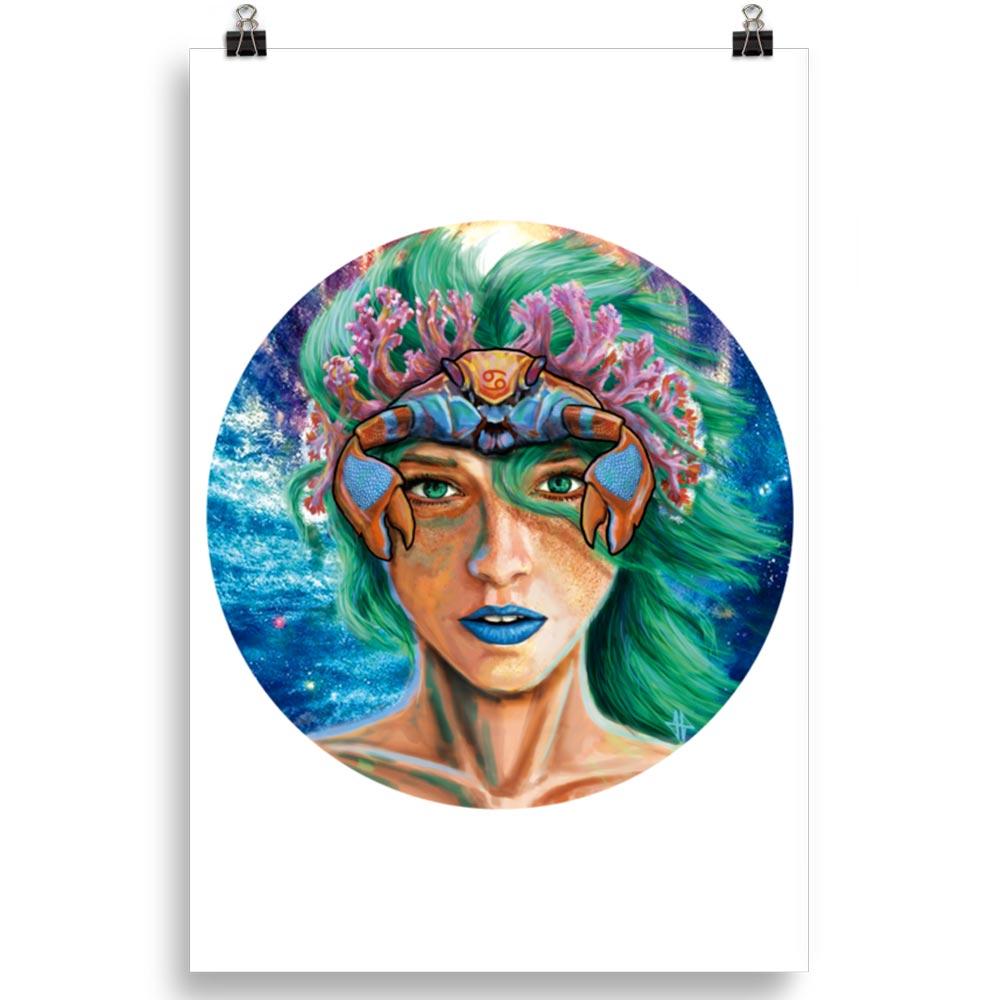 Reproducción de arte en lámina 61x91 cm - La Fortaleza de Cancer - Diseño Digital - Zodiaco - Ilustración -pintado por Adrian Pagador