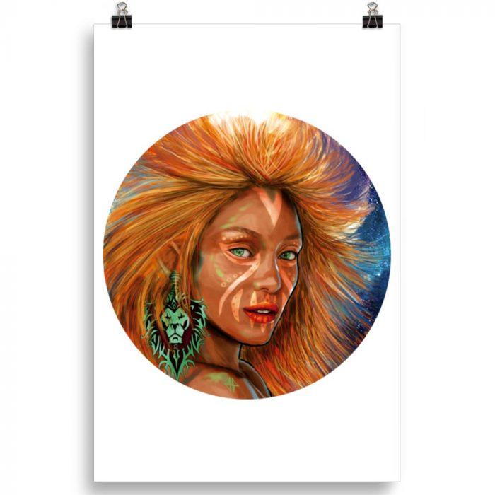 Reproducción de arte en lámina 61x91 cm - El Poder de Leo - Diseño Digital - Zodiaco - Ilustración -pintado por Adrian Pagador