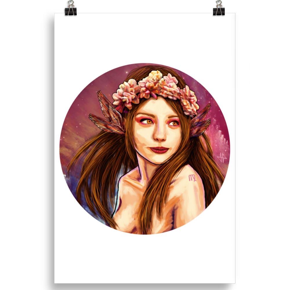 Reproducción de arte en lámina 61x91 cm - La Pureza de Virgo - Diseño Digital - Zodiaco - Ilustración -pintado por Adrian Pagador