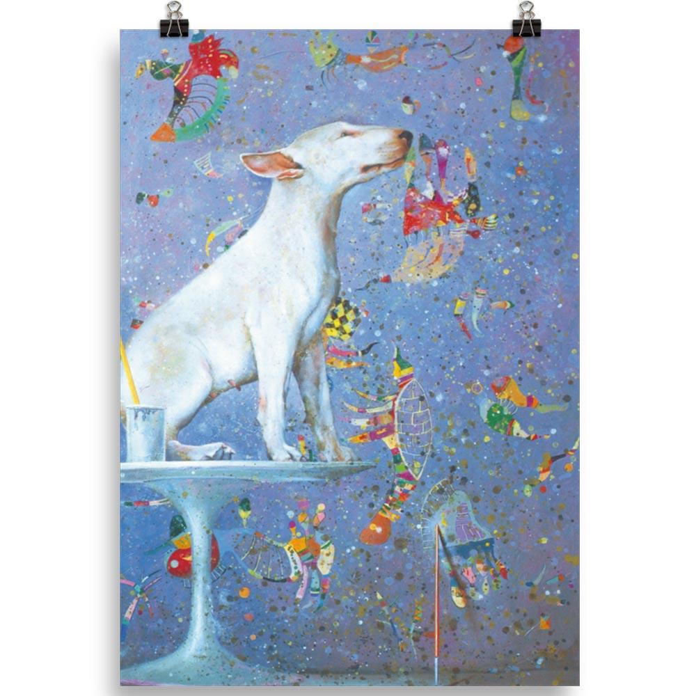Reproducción de arte en lámina 70x100 cm - El Perro de Kandinsky - Óleo - Realismo Cósmico-pintado por Fernando Pagador